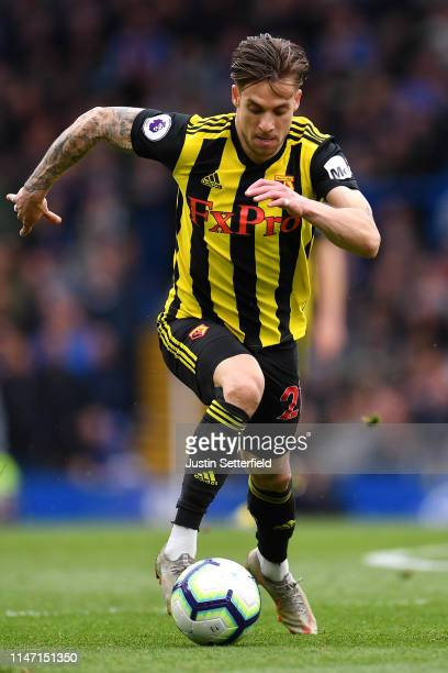 Kiko Femenia of Watford during the Premier League match between Chelsea FC and Watford FC at Stamford Bridge on May 05, 2019 in London, United...