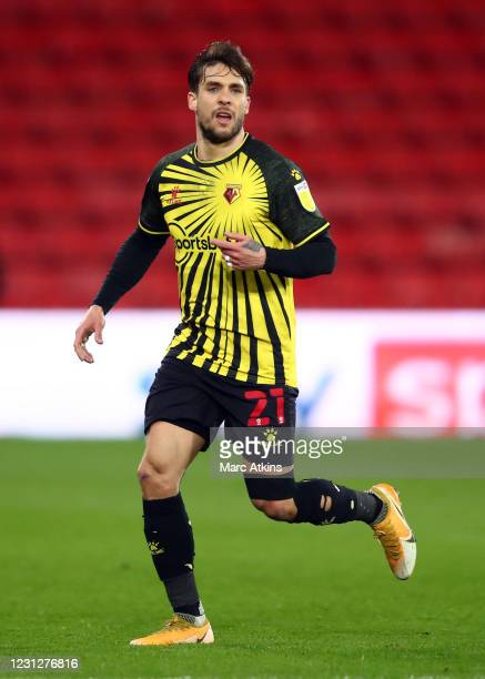 Kiko Femenia of Watford during the Sky Bet Championship match between Watford and Derby County at Vicarage Road on February 19, 2021 in Watford,...
