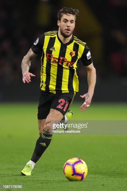 Kiko Femenia of Watford in action during the Premier League match between Watford FC and Chelsea FC at Vicarage Road on December 26 2018 in Watford...