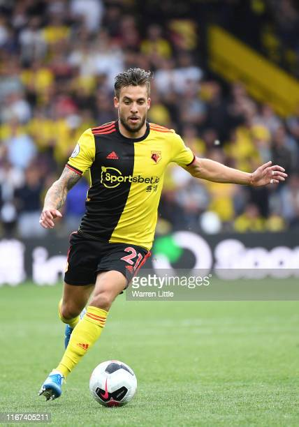 Kiko Femenia of Watford in action during the Premier League match between Watford FC and Brighton & Hove Albion at Vicarage Road on August 10, 2019...