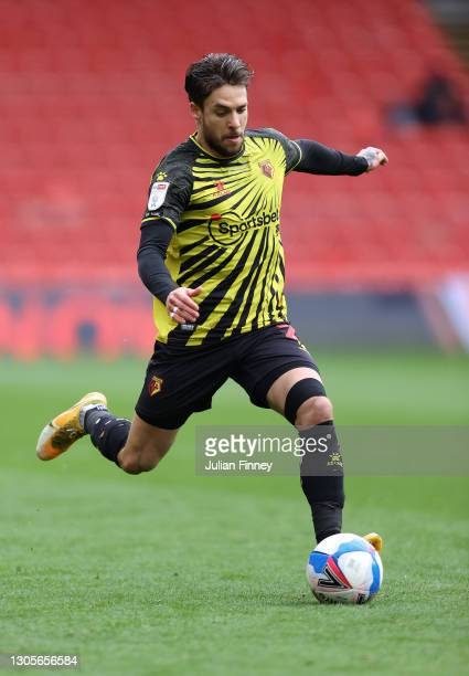 Kiko Femenia of Watford in action during the Sky Bet Championship match between Watford and Nottingham Forest at Vicarage Road on March 06, 2021 in...