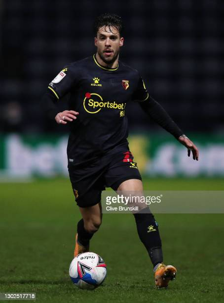 Kiko Femenia of Watford on the ball during the Sky Bet Championship match between Preston North End and Watford at Deepdale on February 16, 2021 in...