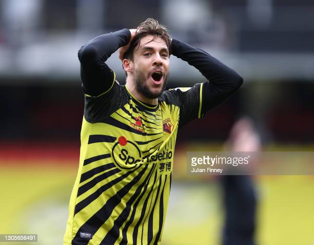 Kiko Femenia of Watford reacts during the Sky Bet Championship match between Watford and Nottingham Forest at Vicarage Road on March 06, 2021 in...