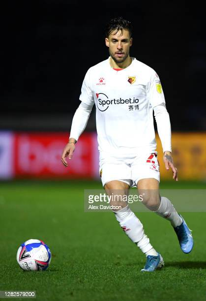 Kiko Femenia of Watford runs with the ball during the Sky Bet Championship match between Wycombe Wanderers and Watford at Adams Park on October 27,...