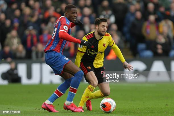 Kiko Femenia of Watford taking on Wilfried Zaha of Crystal Palace during the Premier League match between Crystal Palace and Watford at Selhurst Park...