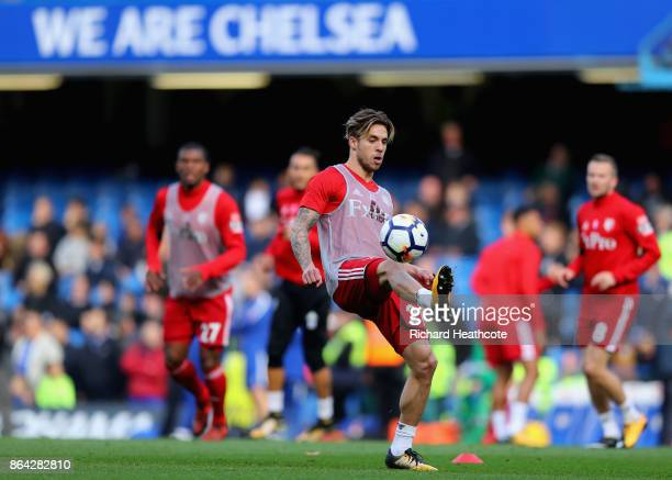 Kiko Femenia of Watford warns up during the Premier League match between Chelsea and Watford at Stamford Bridge on October 21 2017 in London England