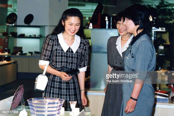 Kiko Kawashima fiancee of Prince Fumihito is seen during a shopping with her mother Kazuyo at Seibu Department Store Ikebukuro on June 6 1990 in...