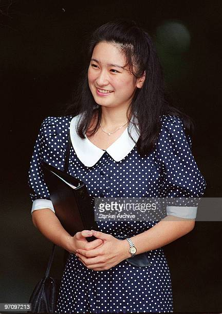 Kiko Kawashima is seen in front of her house on August 28 1989 in front of her house in Tokyo Japan Ms Kawashima engaged to Prince Akishino