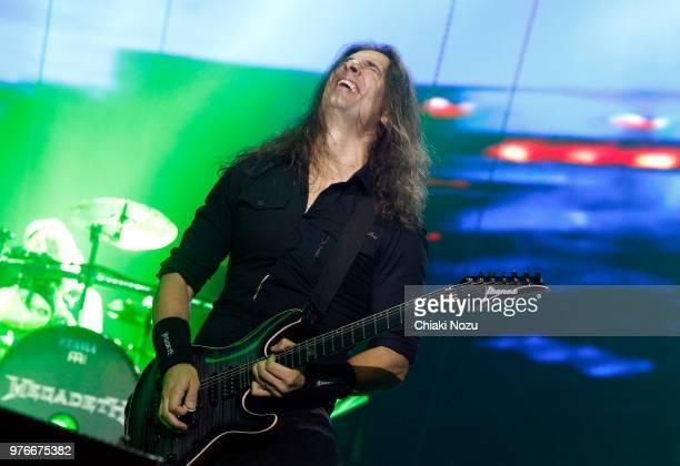 Kiko Loureiro of Megadeth performs during the Stone Free Festival at The O2 Arena on June 16 2018 in London England