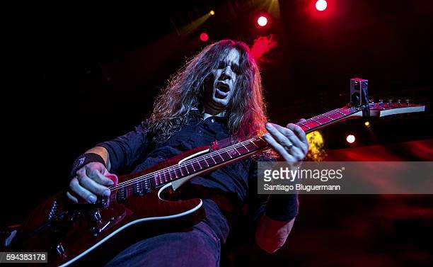 Kiko Loureiro performs during Megadeth as part of Dystopia World Tour at Luna Park on August 22 2016 in Buenos Aires Argentina