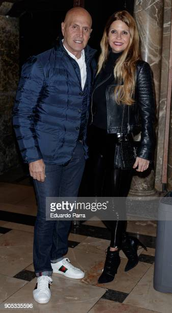 Kiko Matamoros and Makoke attend the 'Grandes Exitos' theatre play premiere at Rialto Theatre on January 15 2018 in Madrid Spain