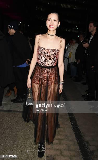 Kiko Mizuhara arrives at the Dior Addict Lacquer Plump Party at 1 OAK on April 10 2018 in Tokyo Japan