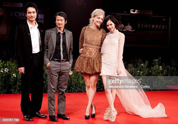 Kiko Mizuhara Rinko Kikuchi Kenichi Matsuyama and Director Tran Anh Hung attend the photocall of movie Norwegian Wood