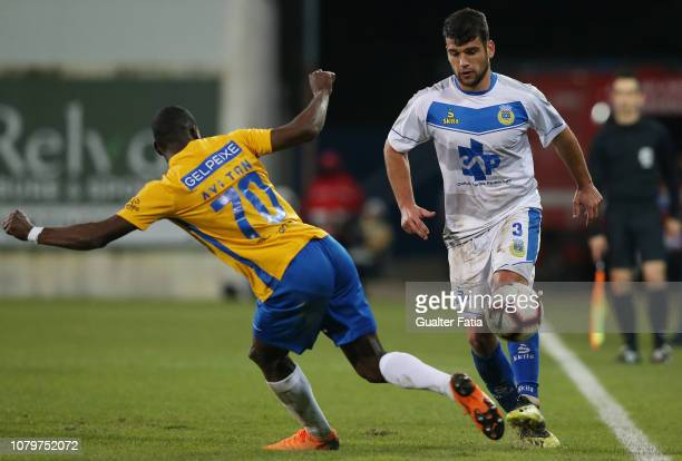 Kiko of FC Arouca with Aylton Boa Morte of GD Estoril Praia in action during the Ledman Liga Pro match between GD Estoril Praia and FC Arouca at...