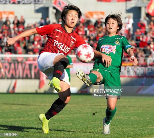 Kiko Seike of Urawa Red Diamonds Ladies and Asato Miyazawa of Nippon TV Beleza compete for the ball during the Empress's Cup JFA 41st Japan Women's...