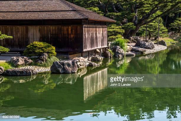 Kikugetsutei is a traditional Japanese sukiya teahouse on the shores of Nanko South Pond at Ritsurin one of Japan's most beautiful gardens Ritsurin...