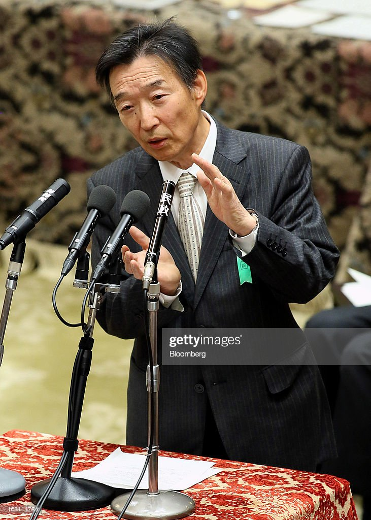 Kikuo Iwata, professor of economics at Gakushuin University and nominee for deputy governor of the Bank of Japan (BOJ), speaks during a confirmation hearing at the lower house of Parliament in Tokyo, Japan, on Tuesday, March 5, 2013. The Bank of Japan should buy longer-term bonds to help it achieve a 2 percent inflation target, said Iwata. Photographer: Haruyoshi Yamaguchi/Bloomberg via Getty Images