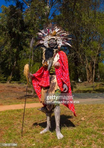 Kikuyu tribe man in traditional clothing, Laikipia, Nyahururu, Kenya on July 8, 2009 in Nyahururu, Kenya.