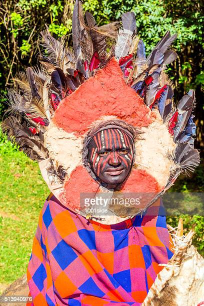 Kikuyu warriors wearing traditional ornaments
