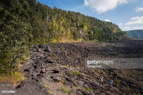 kilauea iki crater in hawaii volcanoes national park - hawaii volcanoes national park stock pictures, royalty-free photos & images