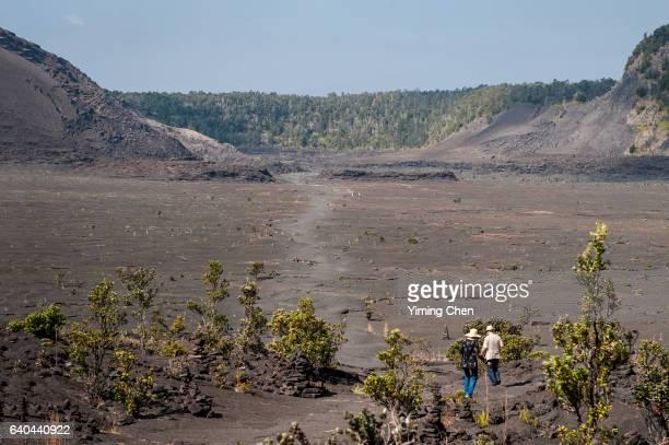 kilauea iki crater in hawaii volcanoes national park - ハワイ火山国立公園 ストックフォトと画像