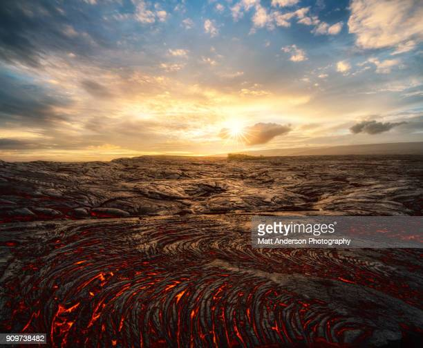 kilauea lava flow #2 horizontal - volcanic terrain stock pictures, royalty-free photos & images