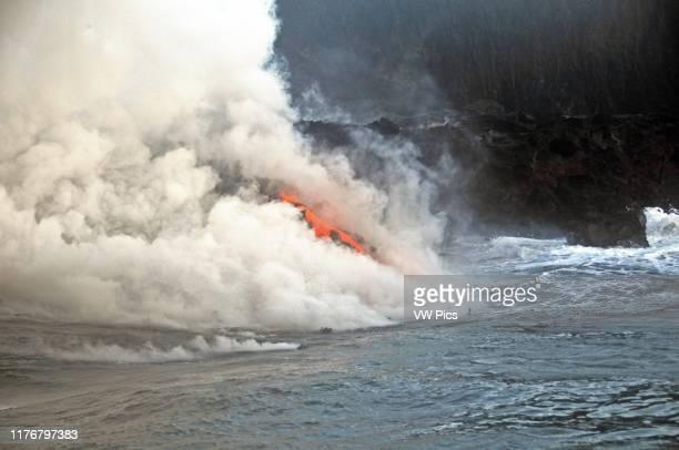 Kilauea lava reaches the Pacific ocean. Kalapana. Big Island. Hawaii. USA.