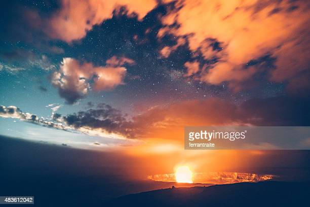 Kilauea Volcano Erupting at Night Hawaii