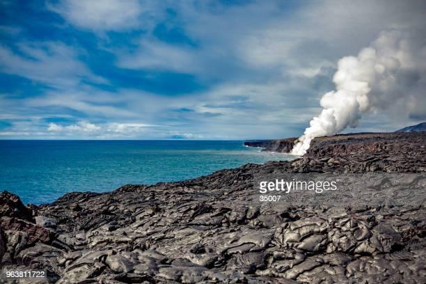太平洋、ハワイにキラウエア火山の溶岩流 - ハワイ火山国立公園 ストックフォトと画像
