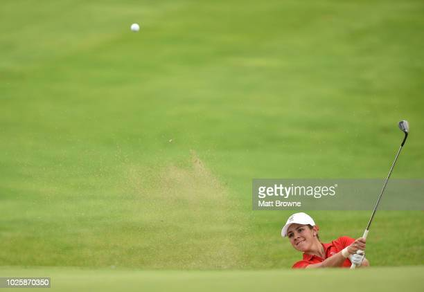 Kildare Ireland 1 September 2018 Kristen Gillman of USA plays from a bunker onto the 17th green during the 2018 World Amateur Team Golf Championships...