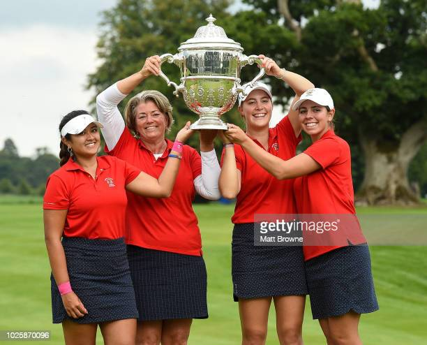 Kildare Ireland 1 September 2018 USA players from left Lilia Vu team captain Stacey Collins Jennifer Kupcho and Kristen Gillman with the Espirito...
