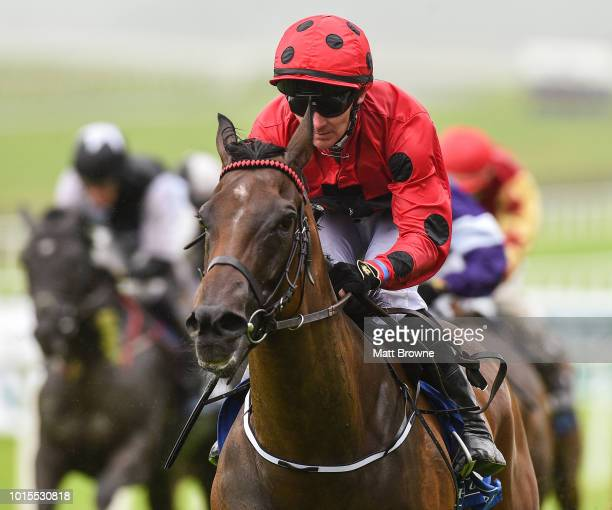 Kildare Ireland 12 August 2018 Optionality with Gary Carroll up on their way to winning the Anglesey Lodge Equine Hospital Irish EBF Maiden during...