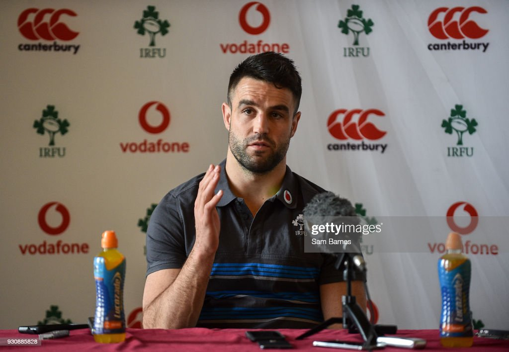 Kildare , Ireland - 12 March 2018; Conor Murray speaking during an Ireland Rugby Press Conference at Carton House, in Maynooth, Co. Kildare.