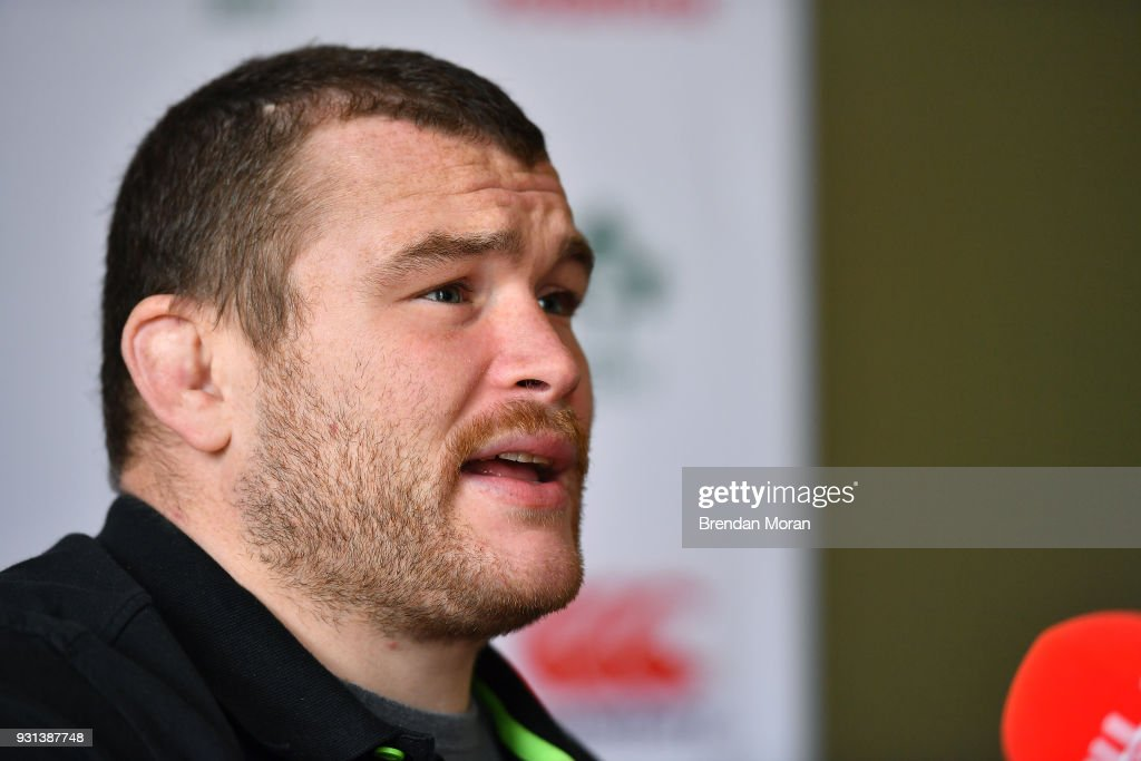 Kildare , Ireland - 13 March 2018; Jack McGrath during an Ireland rugby press conference at Carton House in Maynooth, Co Kildare.