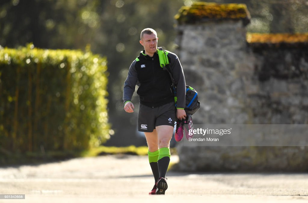 Kildare , Ireland - 13 March 2018; Keith Earls arrives for Ireland rugby squad training at Carton House in Maynooth, Co Kildare.