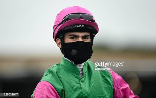 Kildare Ireland 14 August 2020 Jockey Luke McAteer ahead of the Irish European Breeders Fund Median Sires Series Maiden at The Curragh Racecourse in...