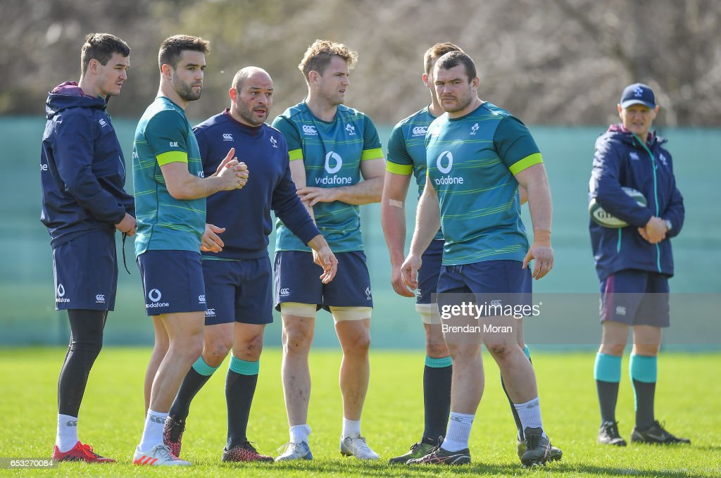 Kildare , Ireland - 14 March 2017; Ireland players, from left, Jonathan Sexton, Conor Murray, Rory Best, Jamie Heaslip, CJ Stander and Jack McGrath during squad training at Carton House in Maynooth, Co Kildare.