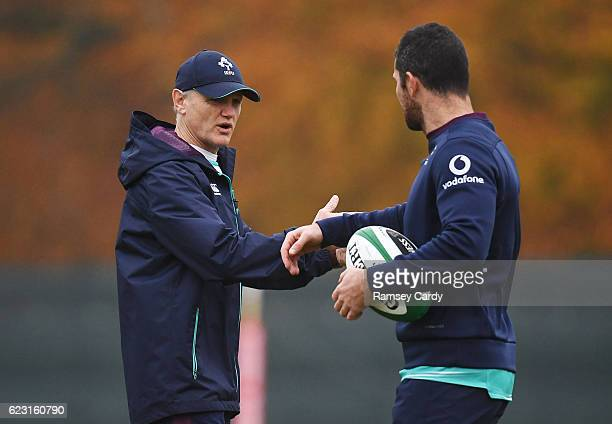 Kildare Ireland 14 November 2016 Ireland head coach Joe Schmidt in conversation with Rob Kearney during squad training at Carton House in Maynooth Co...