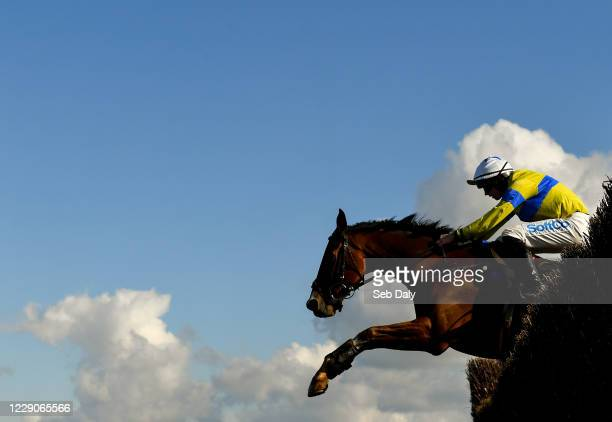 Kildare , Ireland - 14 October 2020; Polished Steel, with Sean O'Keeffe, jumps the second on their way to finishing second in the Idealgraphix.ie...