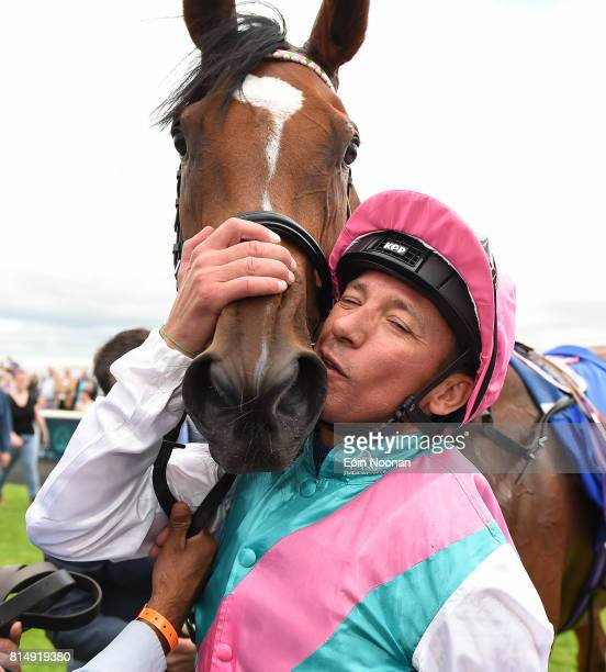 Kildare Ireland 15 July 2017 Frankie Dettori celebrates with his horse Enable after winning the Darley Irish Oaks during Day 1 of the Darley Irish...