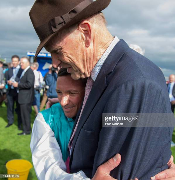 Kildare Ireland 15 July 2017 Frankie Dettori celebrates with trainer John Gosden after winning the Darley Irish Oaks during Day 1 of the Darley Irish...