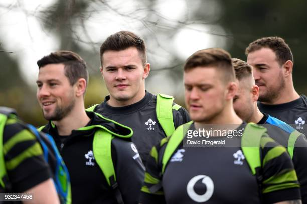 Kildare Ireland 15 March 2018 Jacob Stockdale arrives for Ireland rugby squad training at Carton House in Maynooth Co Kildare