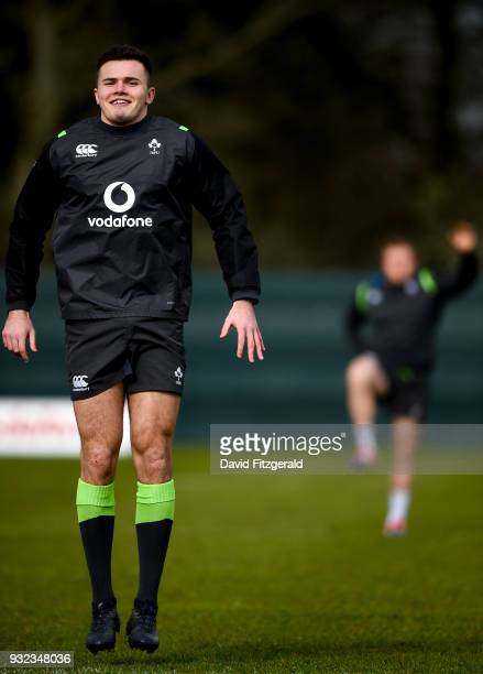 Kildare Ireland 15 March 2018 Jacob Stockdale during an Ireland rugby squad training at Carton House in Maynooth Co Kildare