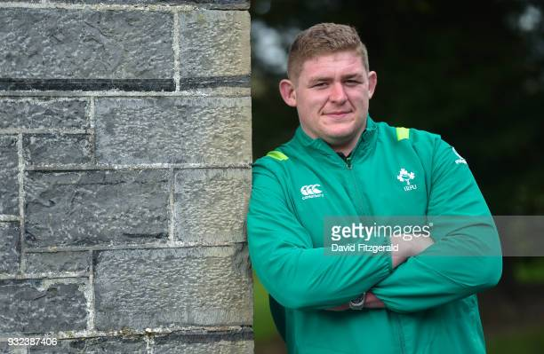 Kildare Ireland 15 March 2018 Tadhg Furlong poses for a portrait following an Ireland rugby press conference at Carton House in Maynooth Co Kildare