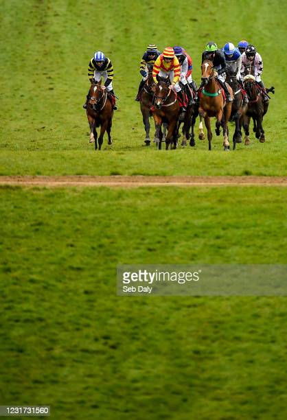 Kildare , Ireland - 15 March 2021; Runners and riders during the 2m 1f 4-y-o C & G Point-to-Point INH Flat Race at Punchestown Racecourse in Kildare.