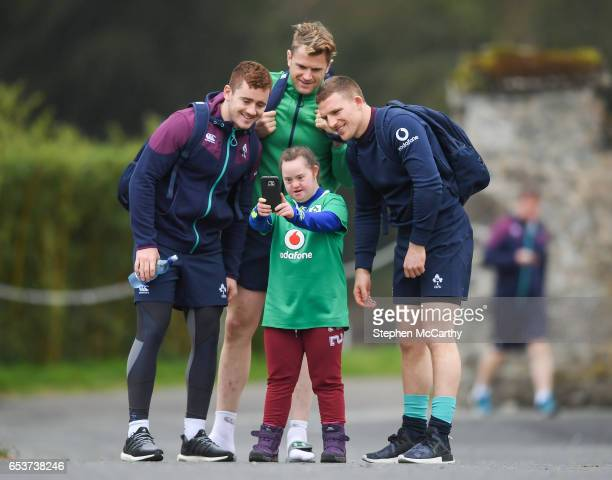 Kildare Ireland 16 March 2017 Ireland supporter Jennifer Malone from Clane Co Kildare meets Paddy Jackson left Jamie Heaslip centre and Andrew Conway...