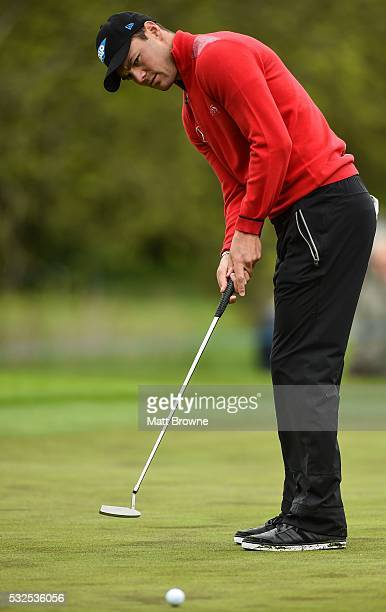 Kildare , Ireland - 19 May 2016; Martin Kaymer of Germany watches his Eagle putt on the 4th green during day one of the Dubai Duty Free Irish Open...