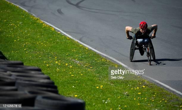 Kildare , Ireland - 21 April 2020; Irish Paralympian Patrick Monahan during a training session at Mondello Park in Naas, Kildare.