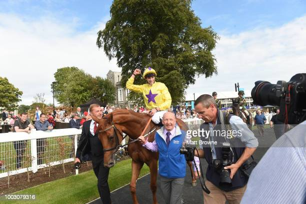Kildare Ireland 21 July 2018 Jockey James Doyle makes his way to the winner's enclosure after winning the Darley Irish Oaks on Sea of Class during...