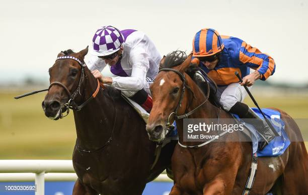 Kildare Ireland 21 July 2018 Sea Of Class right with James Doyle up on their way to winning the Darley Irish Oaks from second place Forever Together...